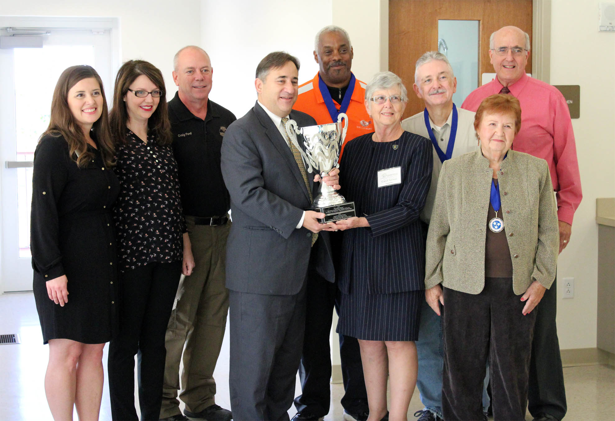 The 2016 Tennessee Senior Brain Games trophy presentation at the Jonesborough Senior Center.