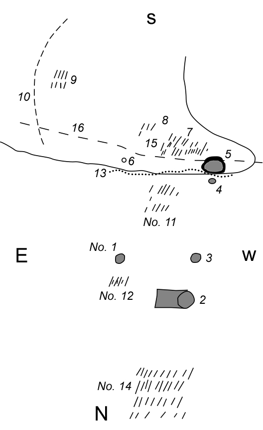 "Sketch map of the Castalian Springs Mound site ca. 1891. Reconstructed after Myer (original in National Anthropological Archives, Smithsonian Institution). 1-5) Mounds; 6) Sulphur Spring; 7, 8, 9, 11, 12, 14) Stone box cemeteries; 10) ""Sunken pathway 3 feet wide leading to Cumberland River""; 13) Lick Creek; 16) Carthage-Gallatin Turnpike; 15) Wynnewood."