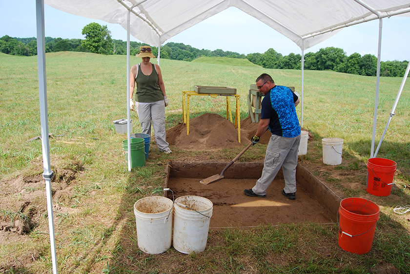 Excavations in 2016 investigated newly-mapped features and determined them to be historic fence rows from historic agriculture (copyright Tennessee Division of Archaeology)