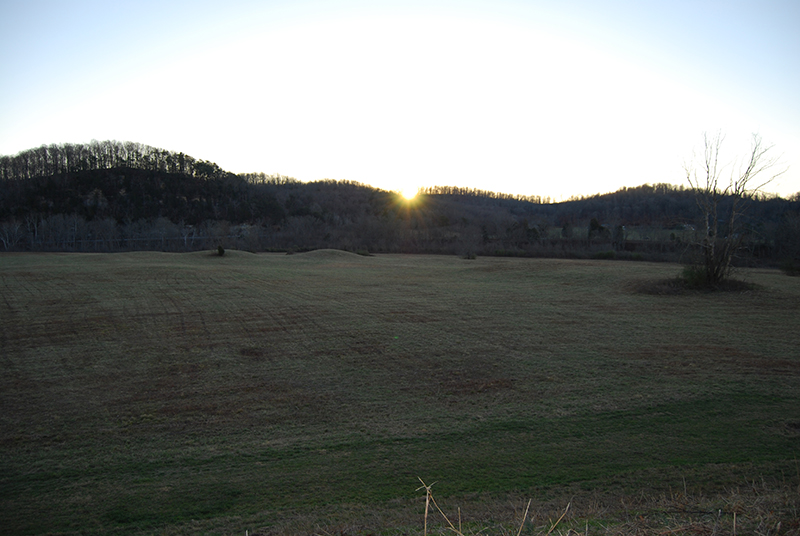 View of sunrise at the winter solstice, seen from Mound A (copyright Tennessee Division of Archaeology)