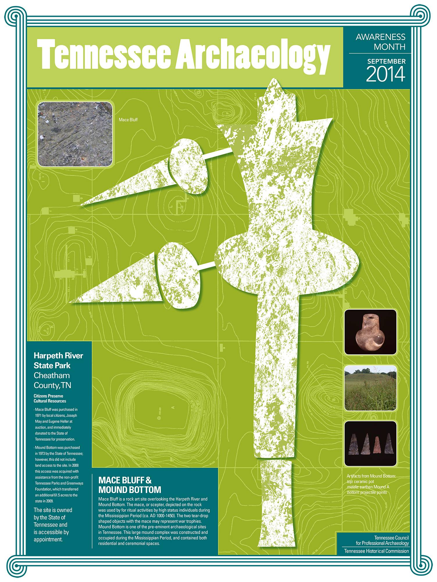 Mound Bottom was the inspiration for the Tennessee Archaeology Awareness Month 2014 poster.