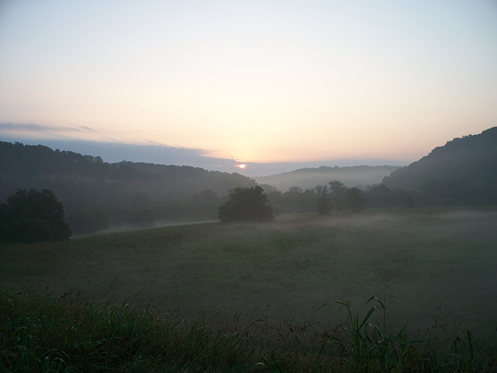 View of sunrise at the summer solstice, seen from Mound A (copyright Tennessee Division of Archaeology)
