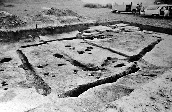 Overlapping wall trench house footprints in the Mound Bottom site core, excavated between 1974 and 1975.