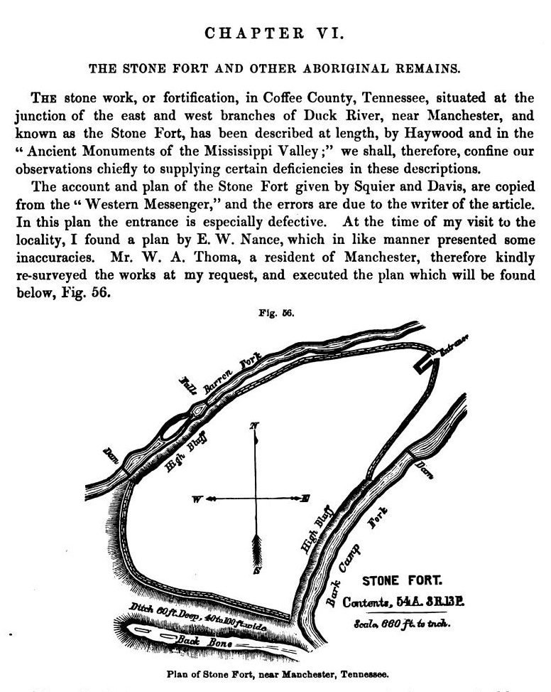 1876 map of Old Stone Fort by Joseph Jones