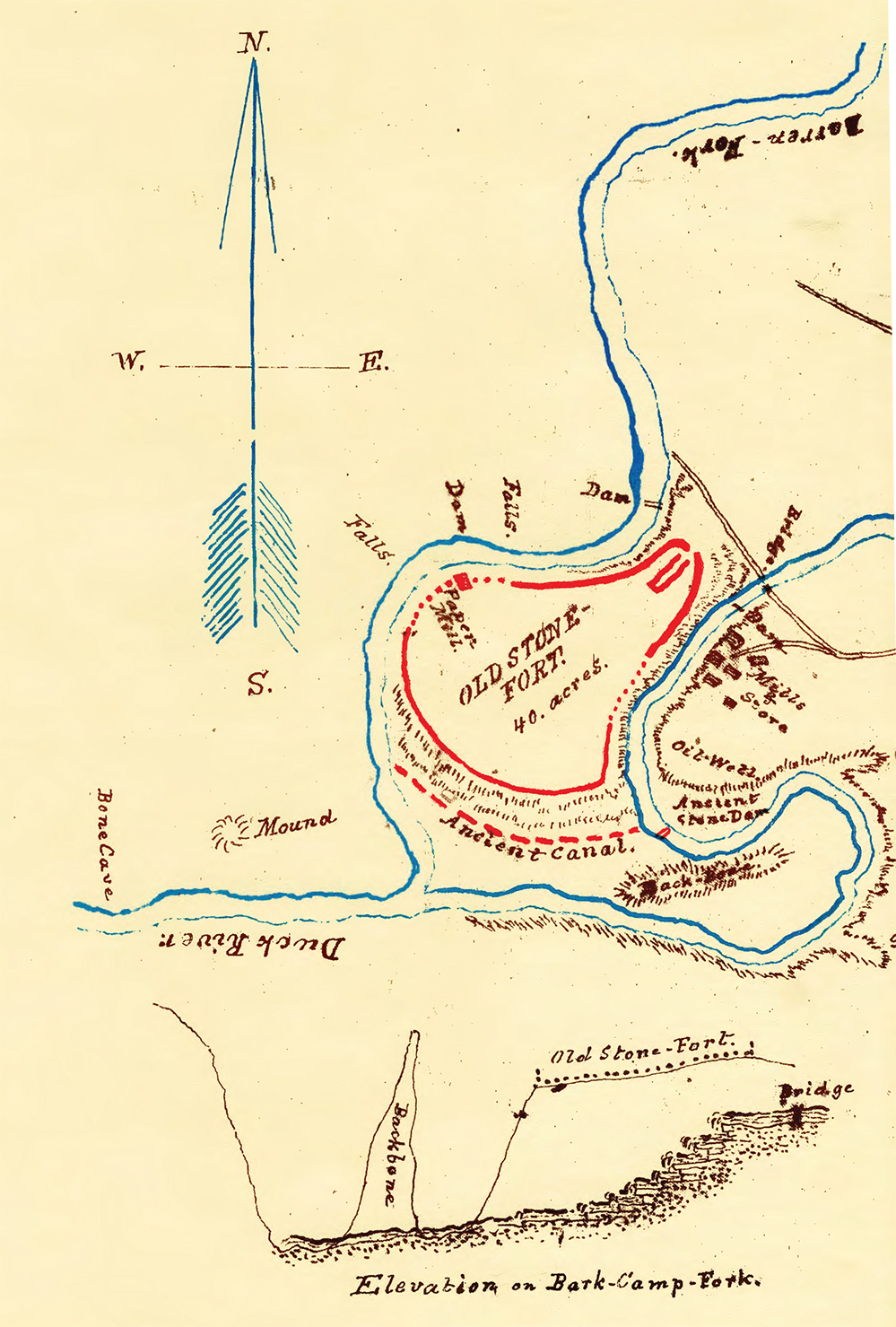 1870 map of the Old Stone Fort by Alexander Kocsis