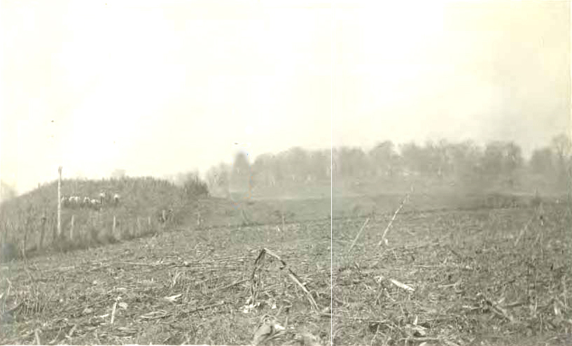 W.E. Myer photograph of large mound (Mound 2), early 20th Century.