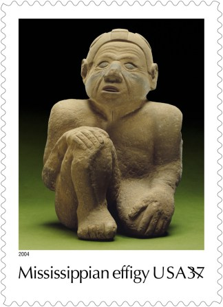 Image of the statue known as Sandy was one of the 10-stamp Native American artifact set issued by the U.S. Postal Service in 2004 to commemorate the opening of the National Museum of the American Indian.  Sandy was designated the official Tennessee State Artifact in 2014.