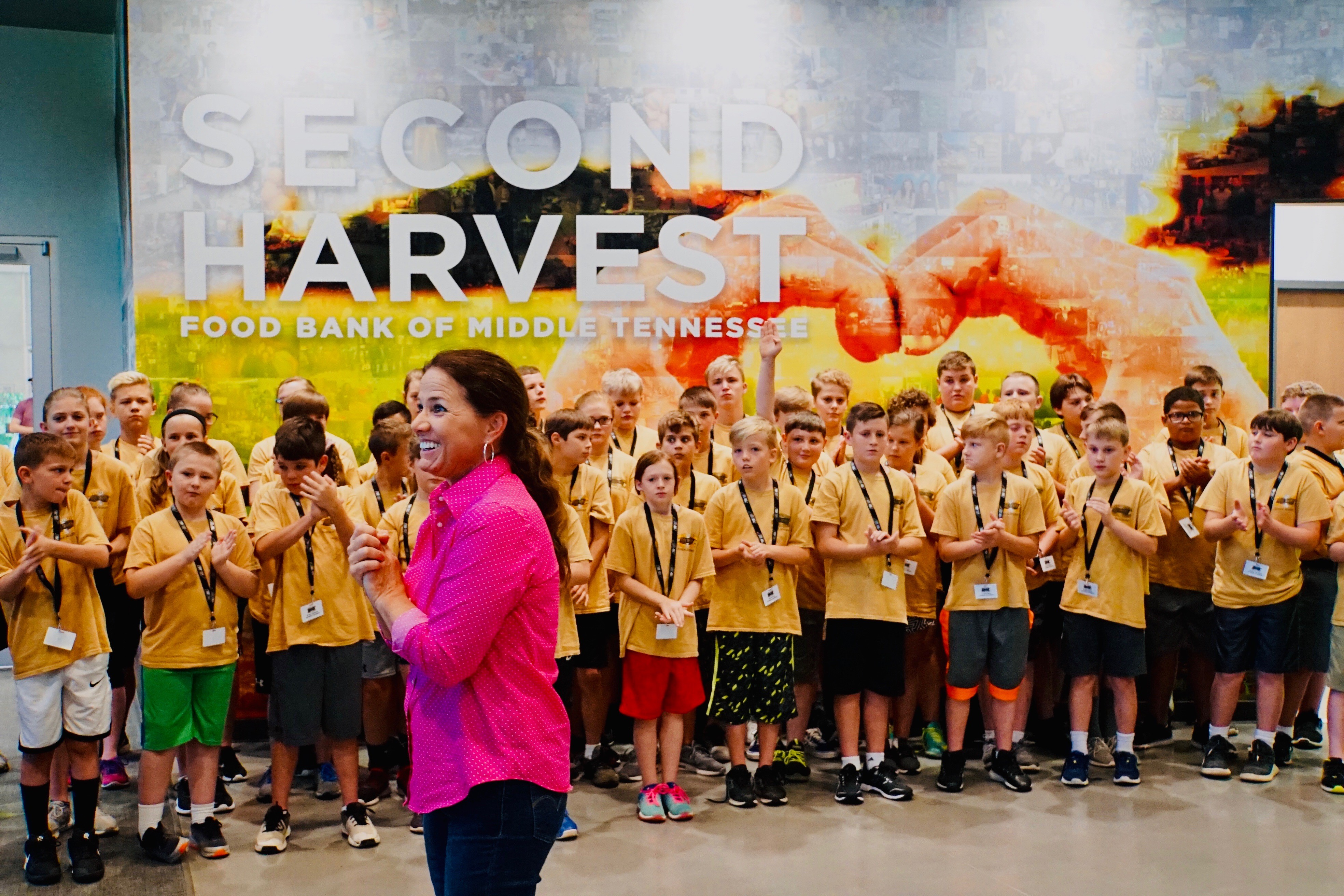 First Lady Maria meets with Tennessee Highway Patrol Junior Cadets at Second Harvest as part of their academy community service project