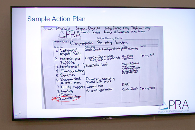 A sample action plan included in the PRA Inc. presentation