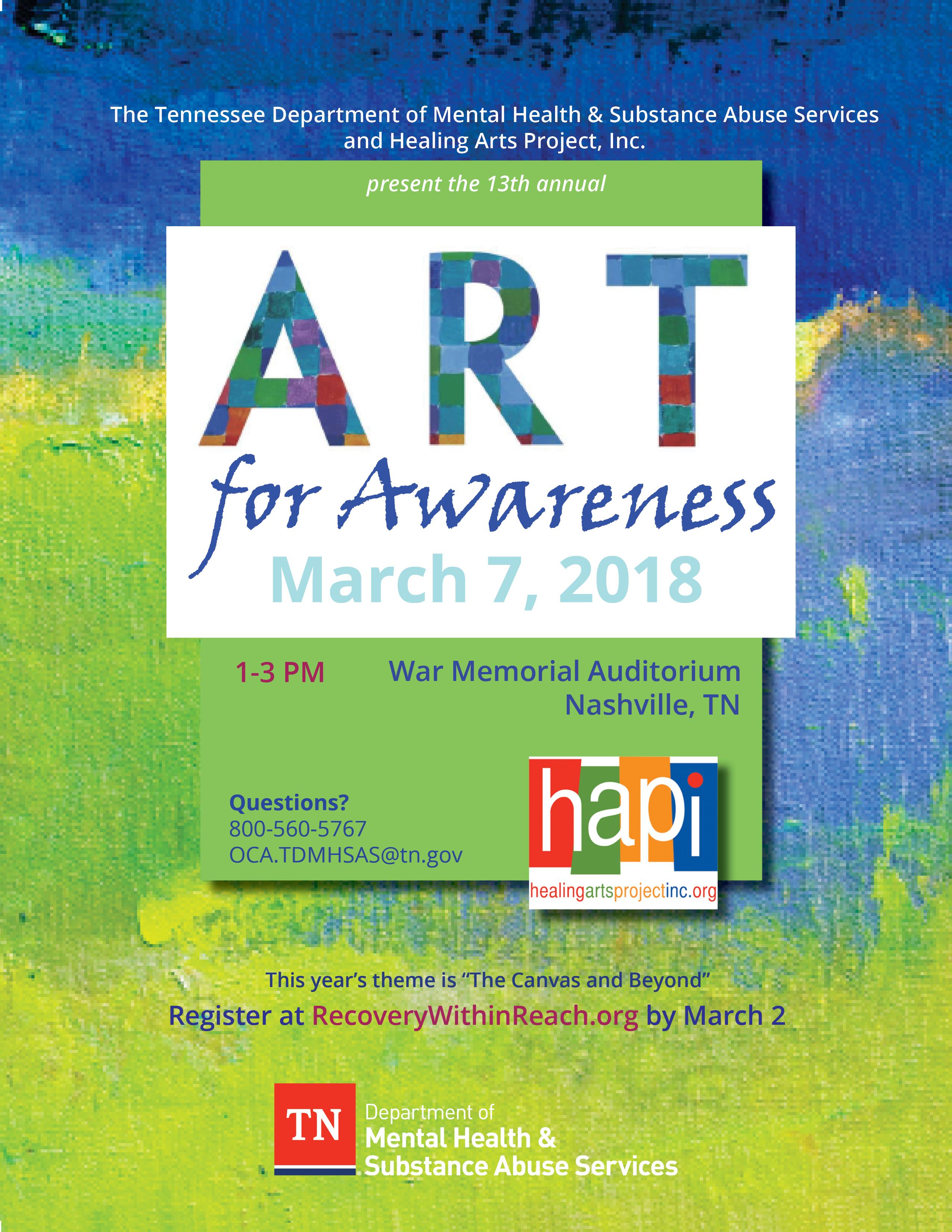 Flier for Art for Awareness 2018