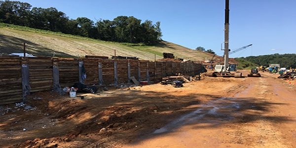 street-level view of retaining wall construction between Barber Hill Lane and Mt Vernon Drive - September 2017