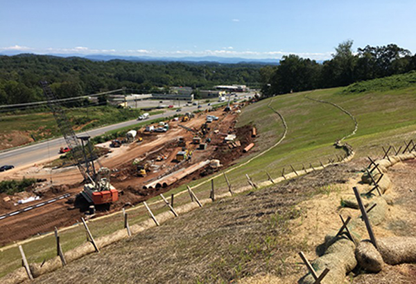 hilltop view of retaining wall construction between Barber Hill Lane and Mt Vernon Drive- September 2017