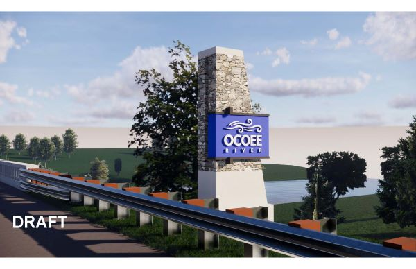 US 64 over Ocoee River Rendering - pylon