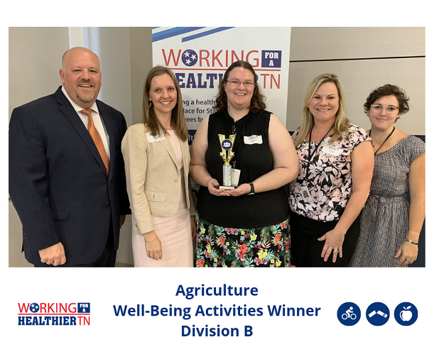 Tennessee Department of Agriculture's Wellness Council took the trophy for Well-Being Activities for Division B.