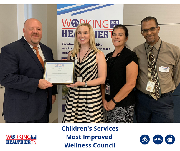 Tennessee Department of Children's Services' Wellness Council has grown over this last year to reach more employees (including in distressed counties as pinpointed by Governor Lee), offered new wellness programming and started to shift to a culture of wellness by involving their senior leadership. Way to go!