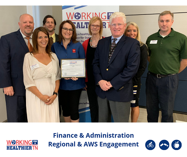 Tennessee Department of Finance and Administration's Wellness Council was recognized for having the greatest regional and AWS employee engagement in Division B.