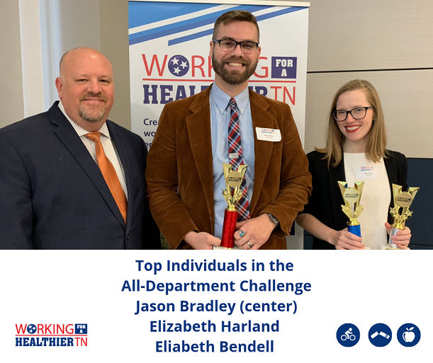 The top three individuals who competed in the All-Department Physical Activity Challenge were all from TennCare! They were Jason Bradley, Elizabeth Harland and Elizabeth Bendell. Rachel Clark accepted on Elizabeth Harland's and Elizabeth Bendell's behalf.