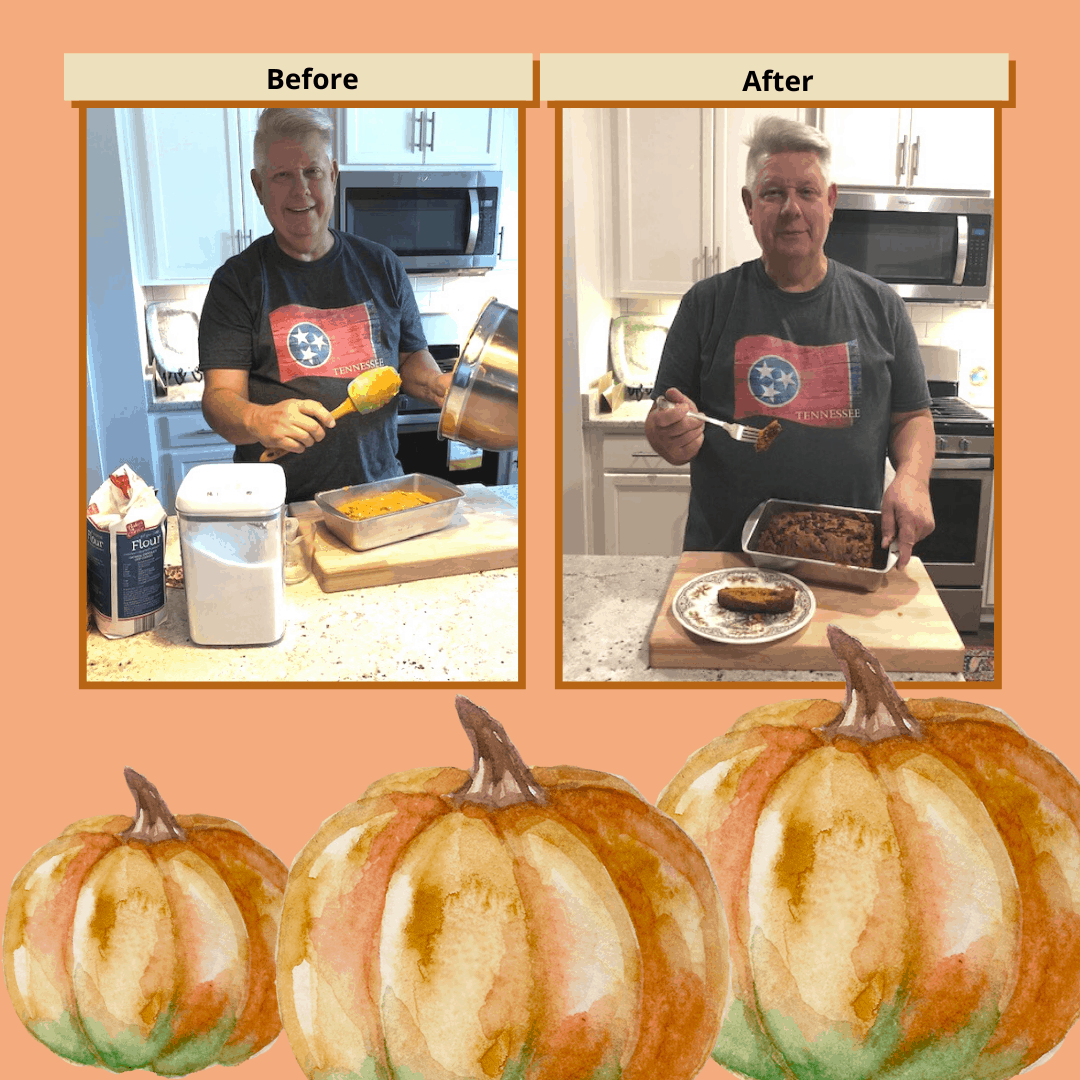 Randy flexed his baking muscles and made pumpkin bread!