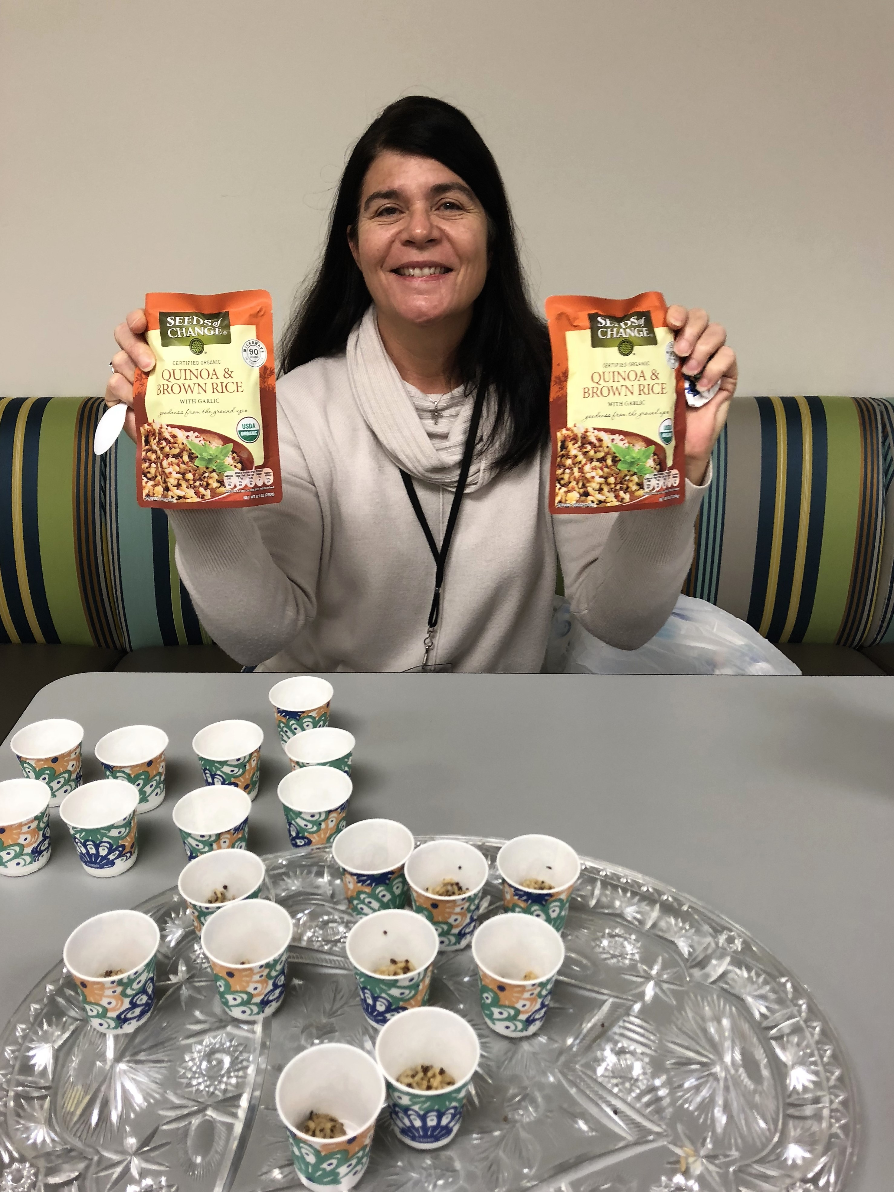 The Department of Children's Services hosted a quinoa taste test. Here's Venus Singleton participating.
