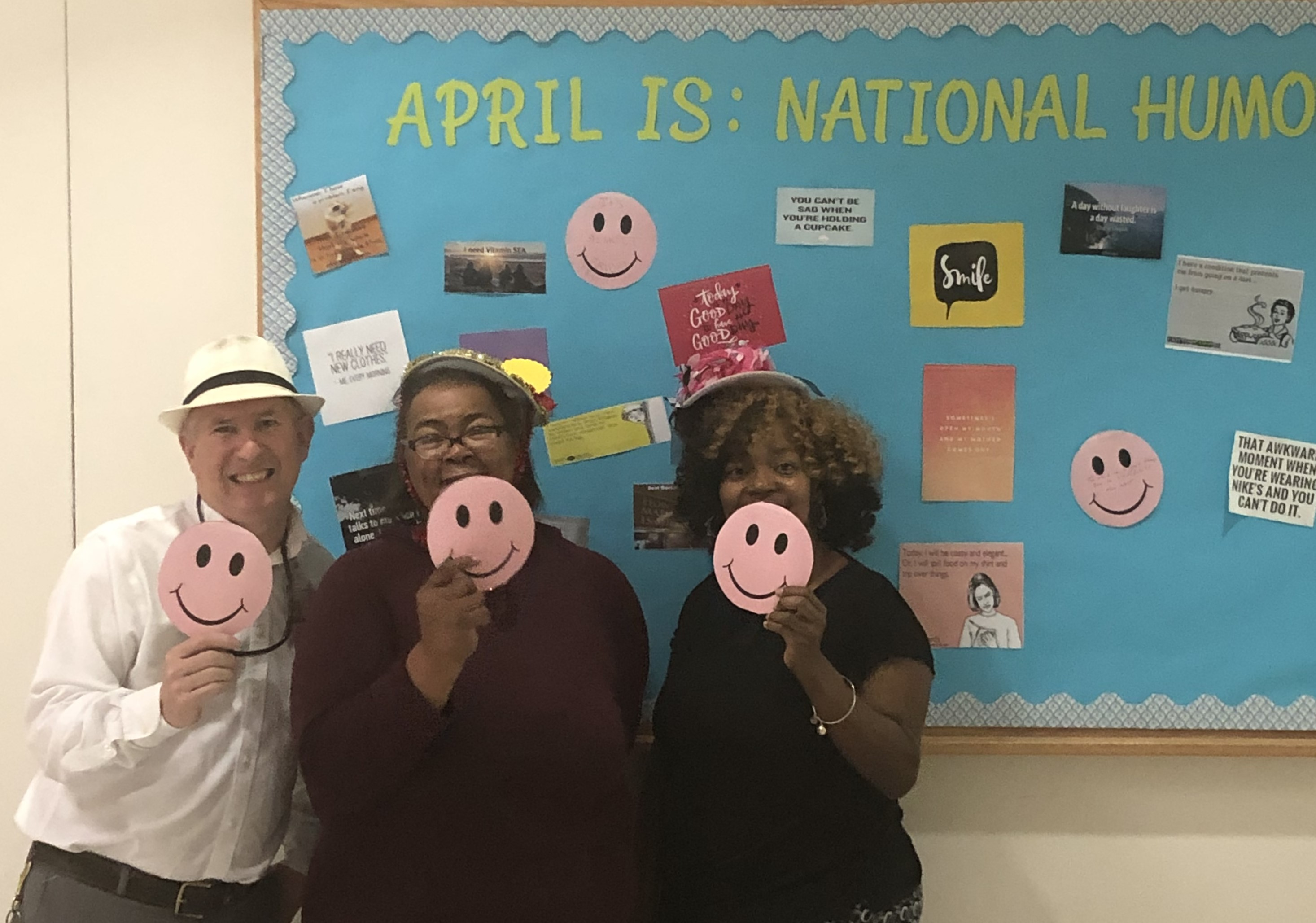 For Humor Month, the DIDD West Regional Office decorated a bulletin board where employees could post funny quotes. They also had a funny hat day.