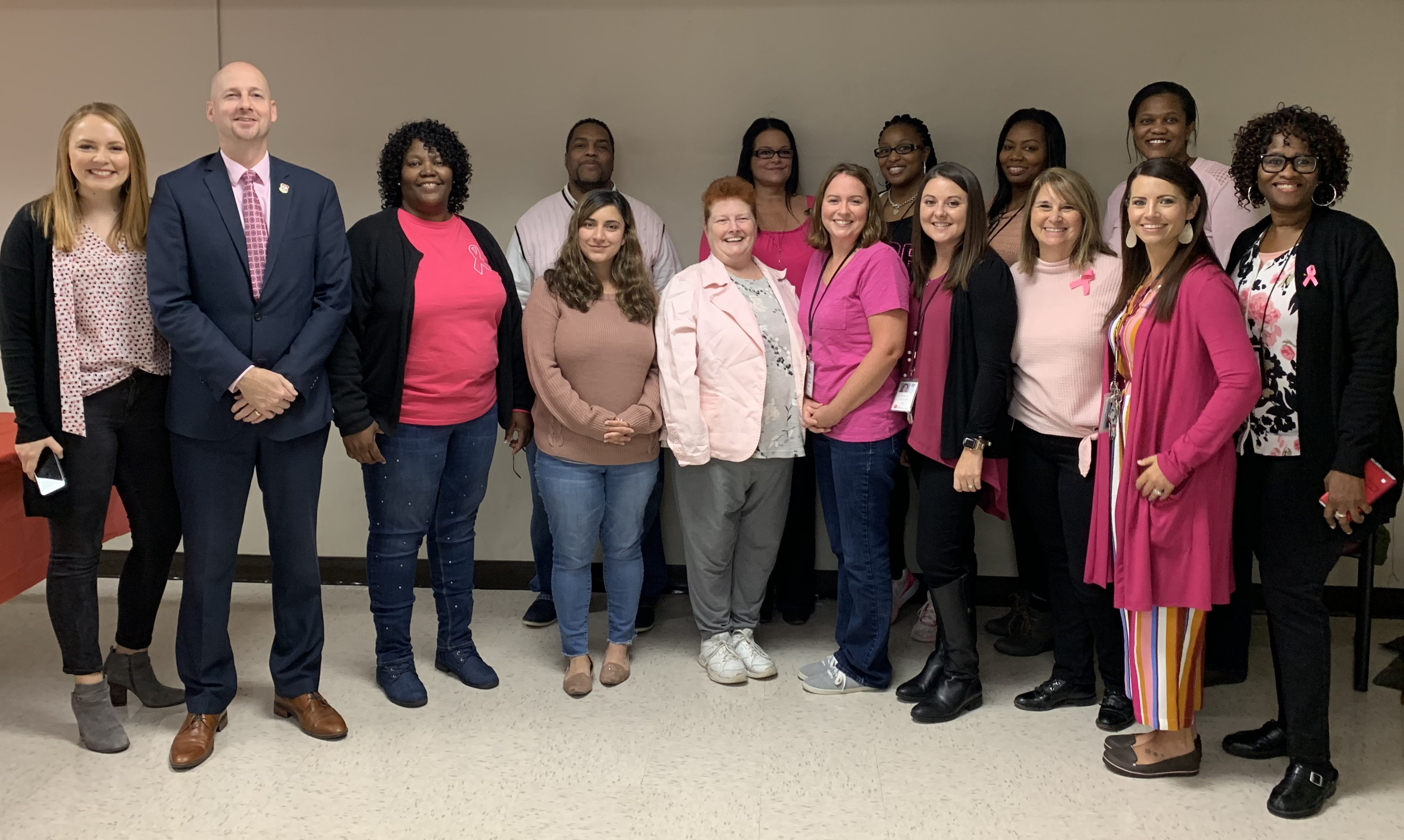Employees at DIDD's Middle TN office wore pink for Breast Cancer Awareness Month, including Commissioner Brad Turner (pictured second from left)