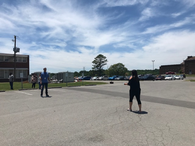 Almost 40 employees participated in a recent Spring Fling event at DIDD. They had a healthy potluck and enjoyed outdoor activities like jumping rope, badminton and hopscotch.