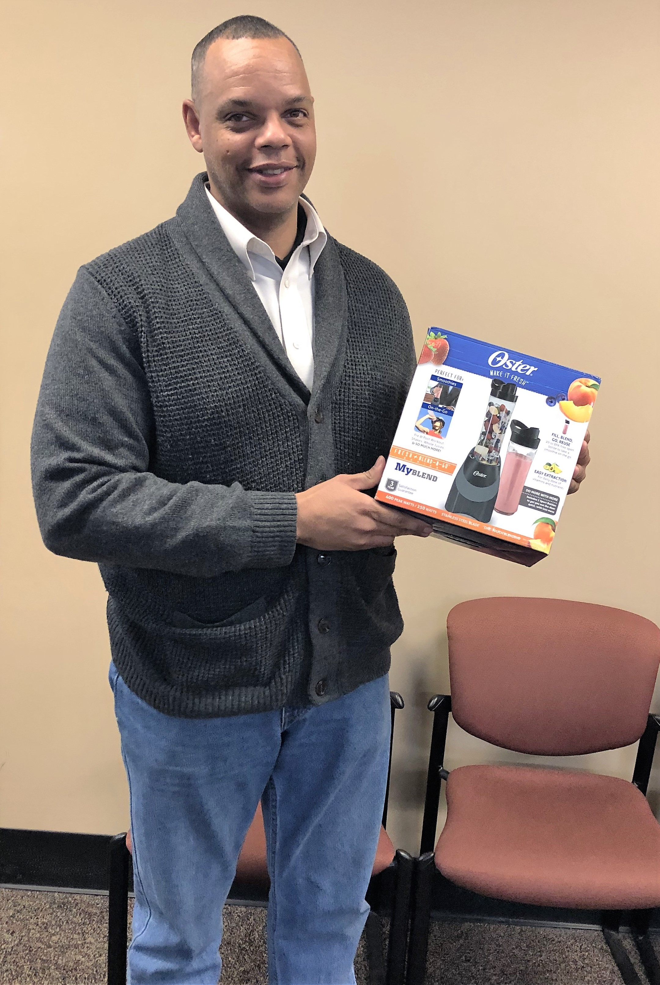 Kevin Bruce won the door prize, a personal blender.