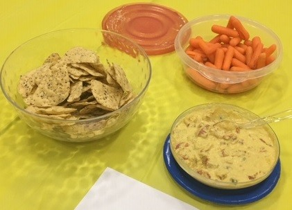 Cashew queso dip at the April fool's taste test