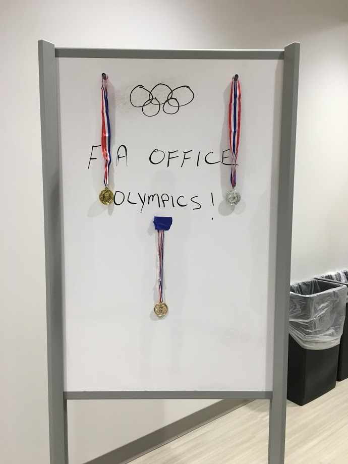 During Office Olympics, F&A employees participated in several events, such as boiled egg toss, basketball dribble relay, push-ups, wall sits, stretch test, planks and balance.