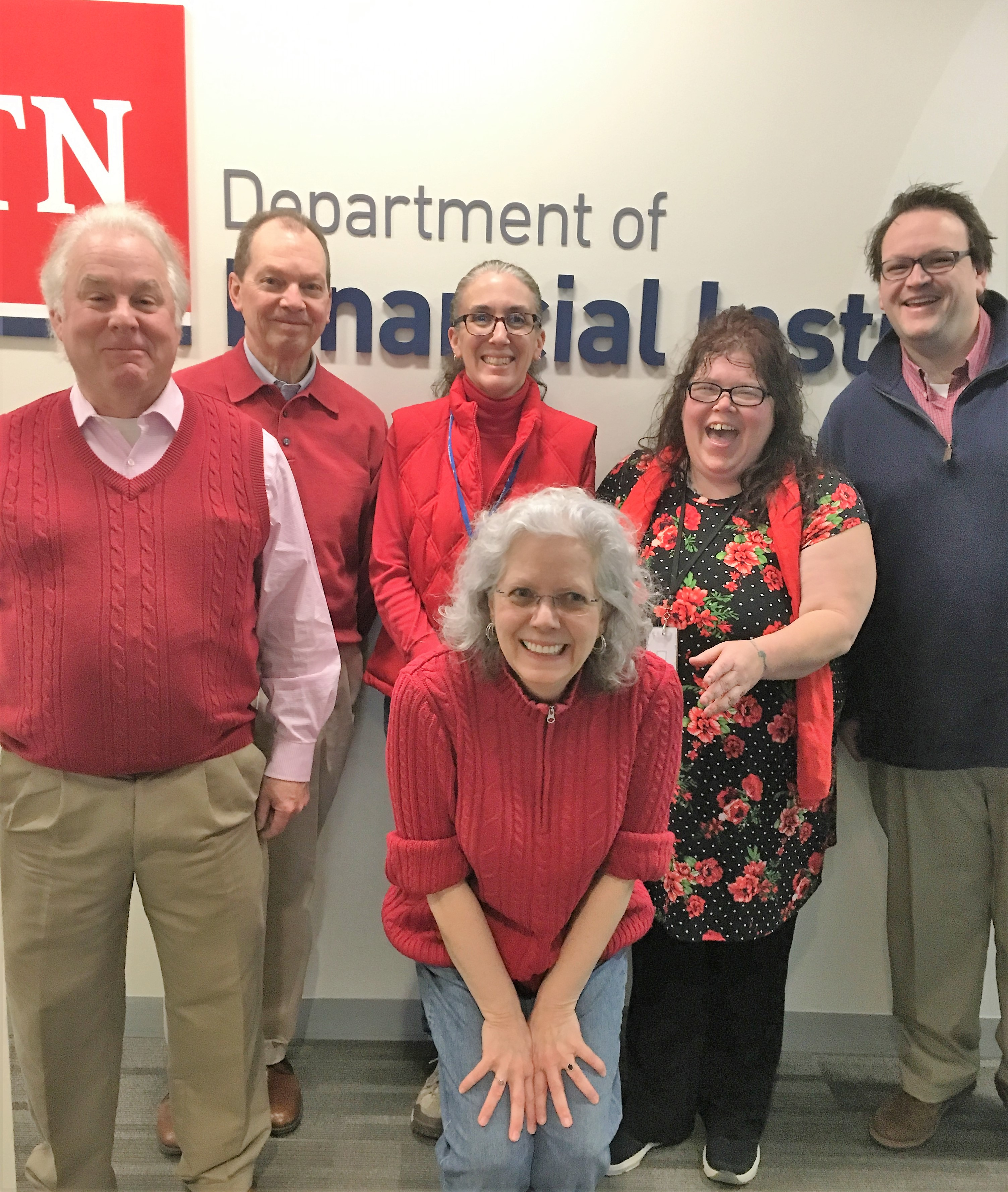 Employees wear red to raise awareness for American Heart Month.