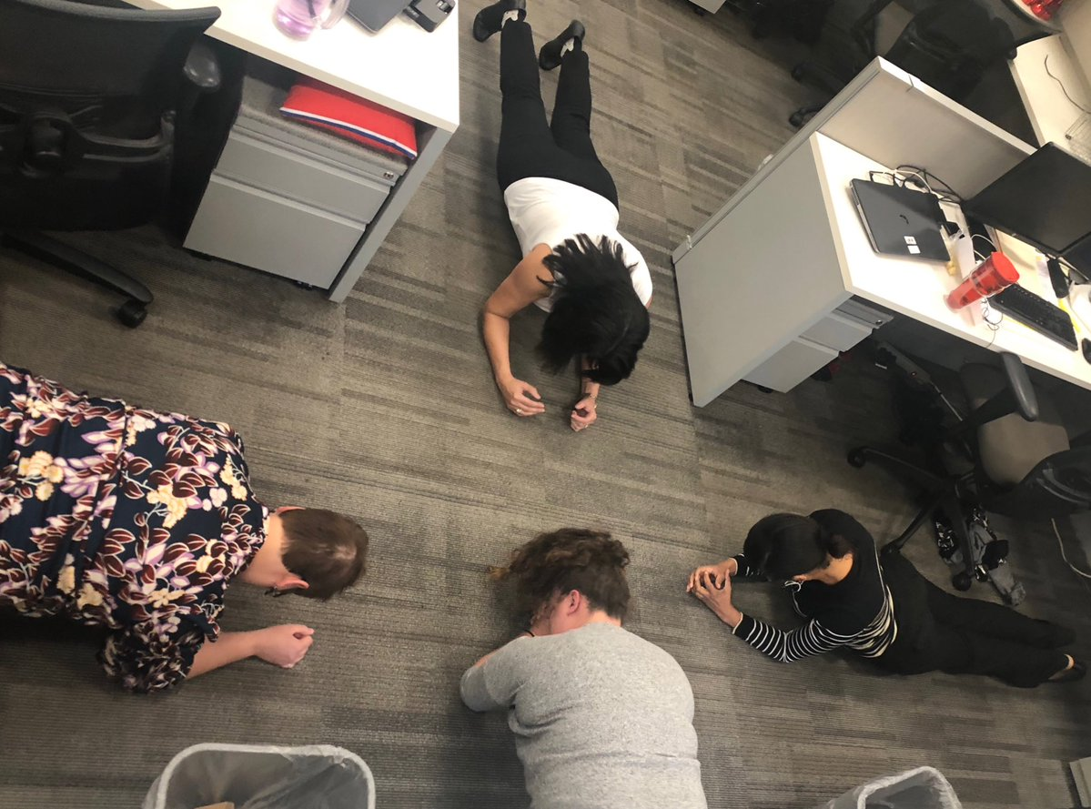 Employees are joining in on the Planksgiving fun by starting their lunch breaks with a 45 second plank!