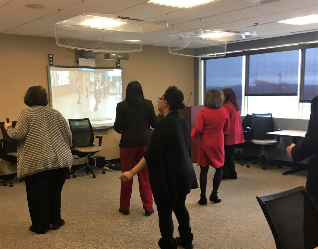 The Department of Human Services had a heart-healthy physical activity wellness break on Valentine's Day. Participants joined in the Cupid Shuffle.