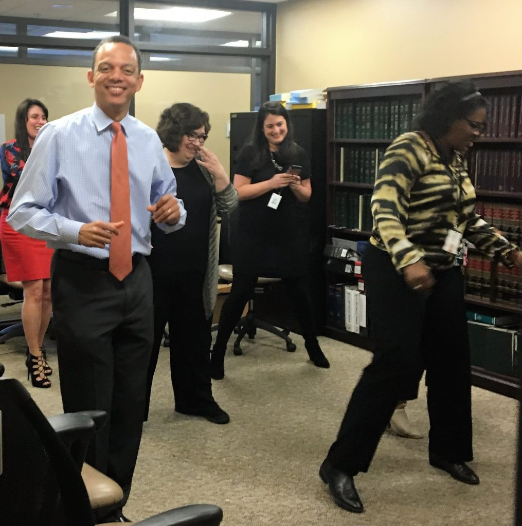 The Department of Human Services took a quick break to do the electric slide.