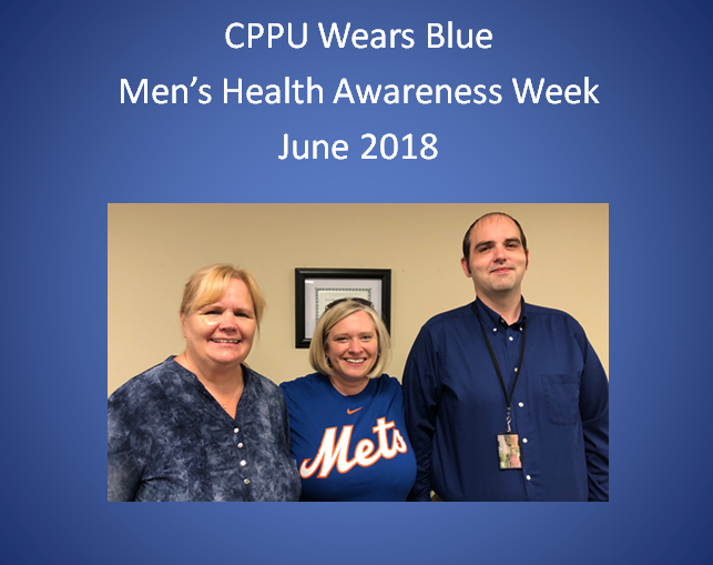 In honor of Men's Health Week, employees from the Department of Human Services are wearing either blue or their favorite sports jersey.