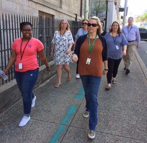 The Family Assistance-Child Support team at the Department of Human Services went for a wellness walk.