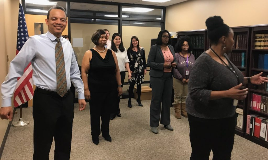 Members of the Wellness Council at the Department of Human Services took a quick break to do the Wobble Dance.