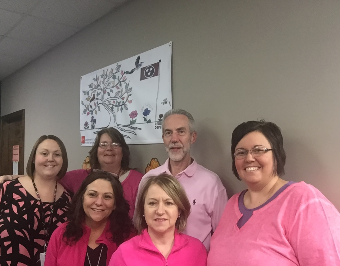The Maynardville office of the Department of Human Services hosted a Pink Out Day on October 26 to support breast cancer awareness month. They also gave out Susan G. Komen Take Action bookmarks.