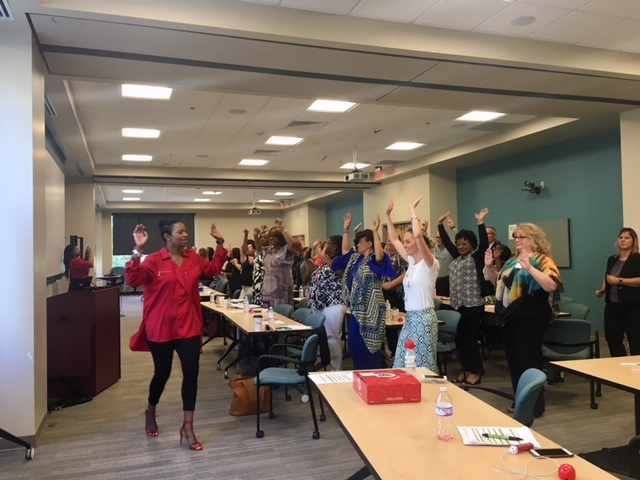 Family Assistance Contracts Director Karen Walker and Families First Director Lakecia Peterson led the Department of Human Services staff and partners from across the state in a 15-minute health and wellness break. They learned some easy, invigorating exercises they can do at their desks. As you can tell, fun was had by all!