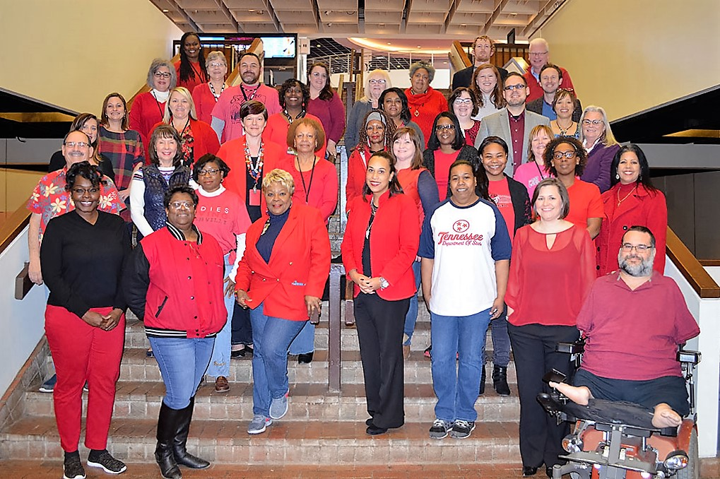 DHS employees wear red to raise awareness about heart disease prevention.