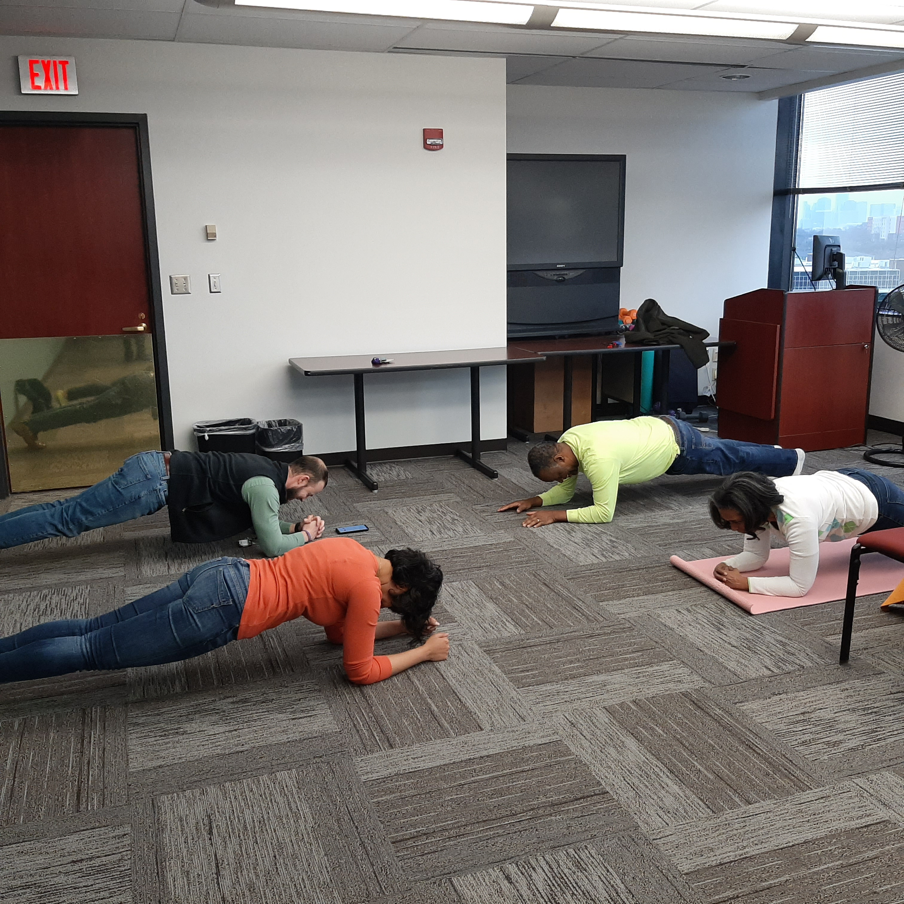 DHS and DCS employees had a little friendly competition with a plank challenge.