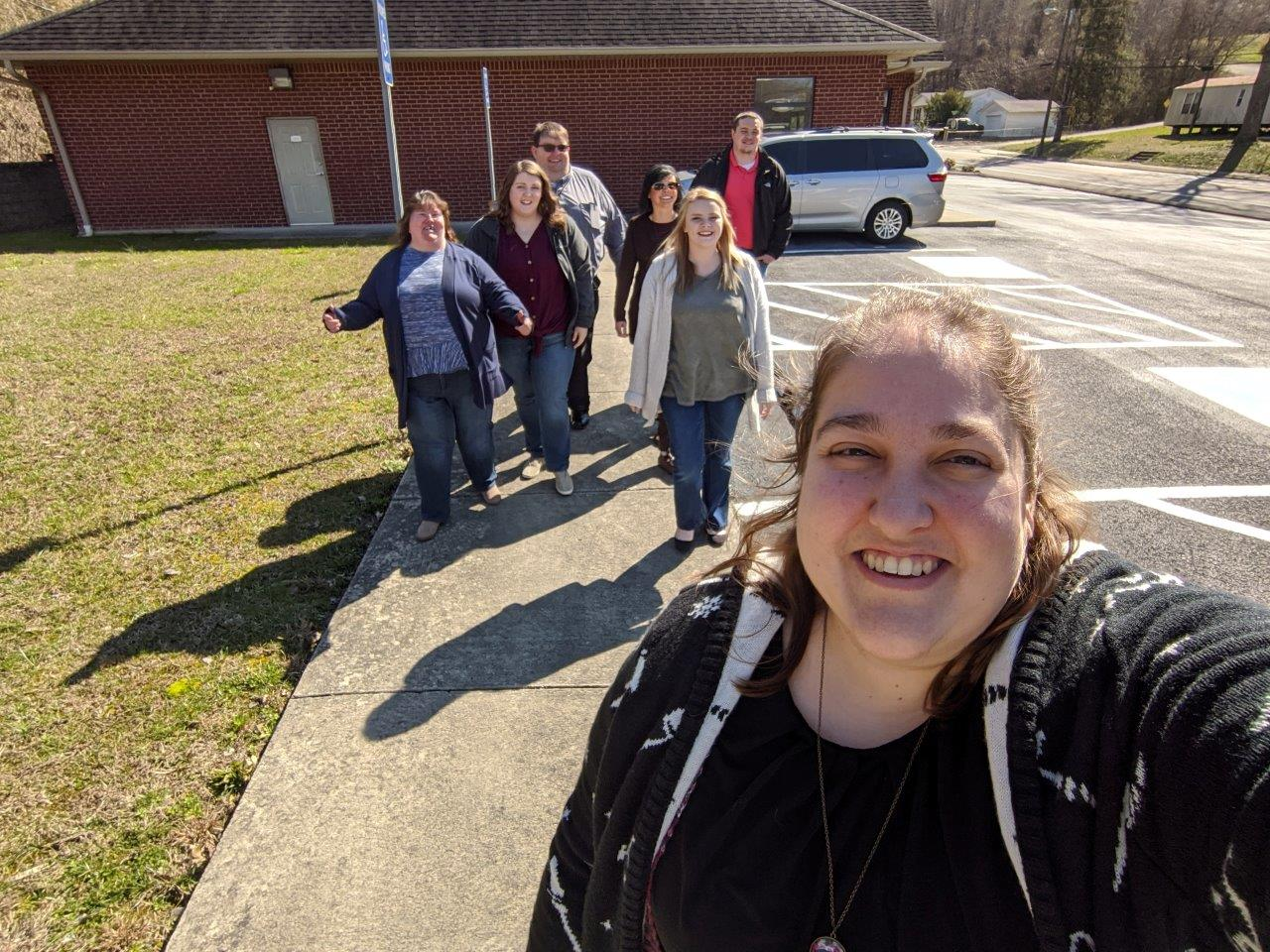 DHS Campbell County Jellico office employees taking a group walk.