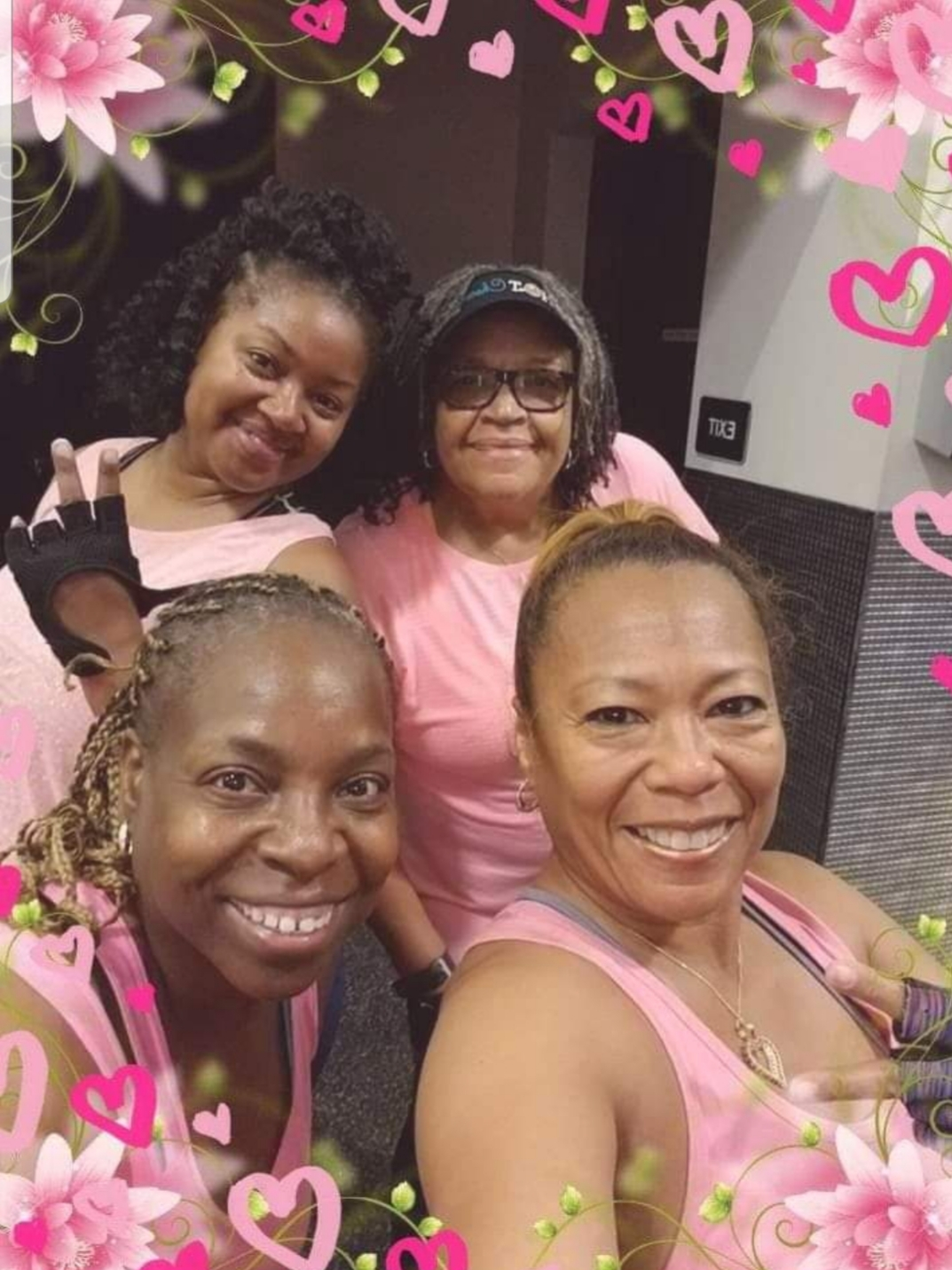 "In recognition of Breast Cancer Awareness Month, DHS employee Sophia Young McAdoo and her ""gym sisters"" wore pink. They named this pic ""Pretty, Pink and Wonderful!"""
