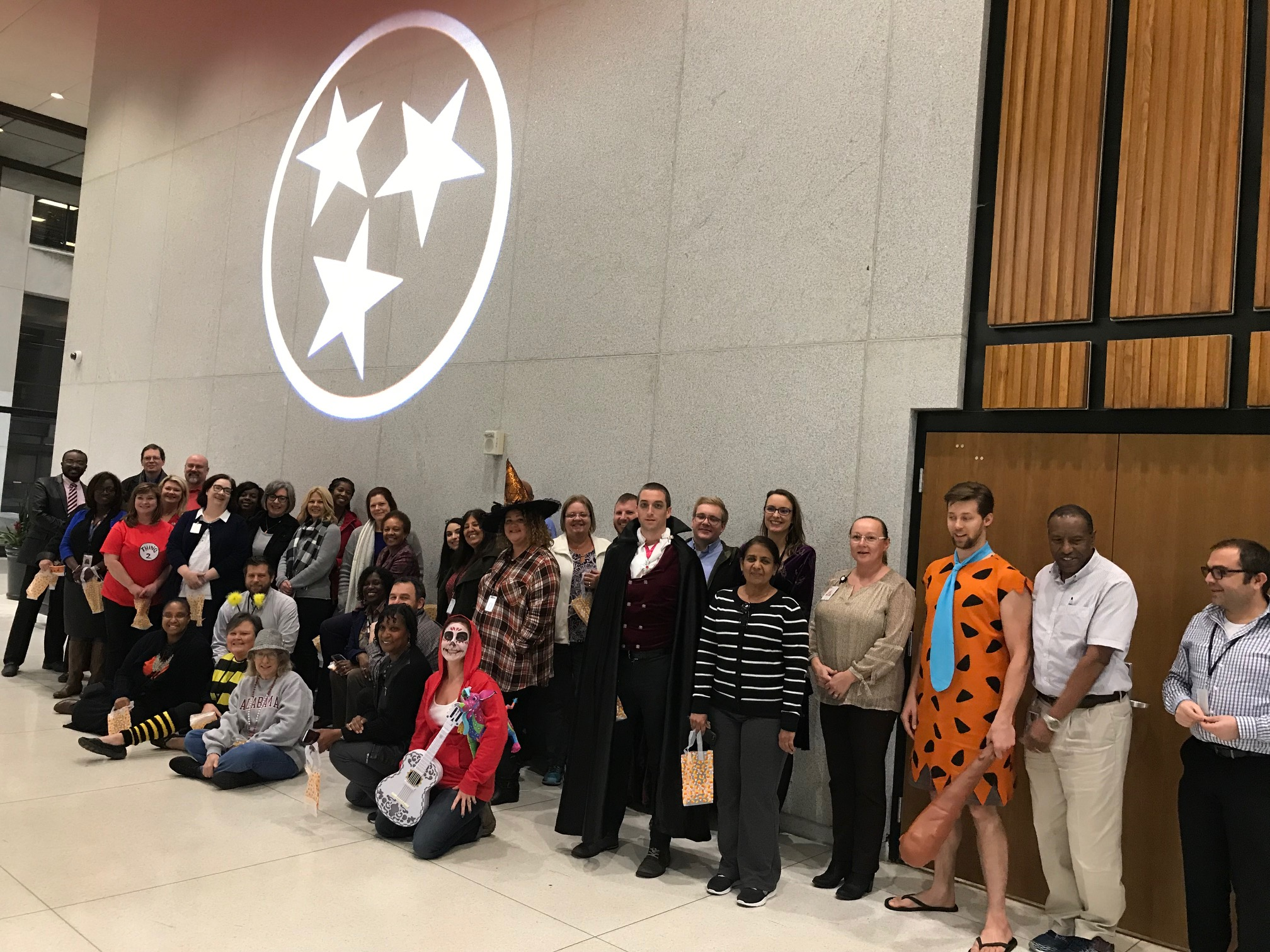 The Department of Human Services and The Department of Revenue teamed up to host a Healthy Halloween Wellness Walk. 42 people attended! They walked laps on the first floor of the Andrew Jackson Building, and enjoyed healthy Halloween treats.