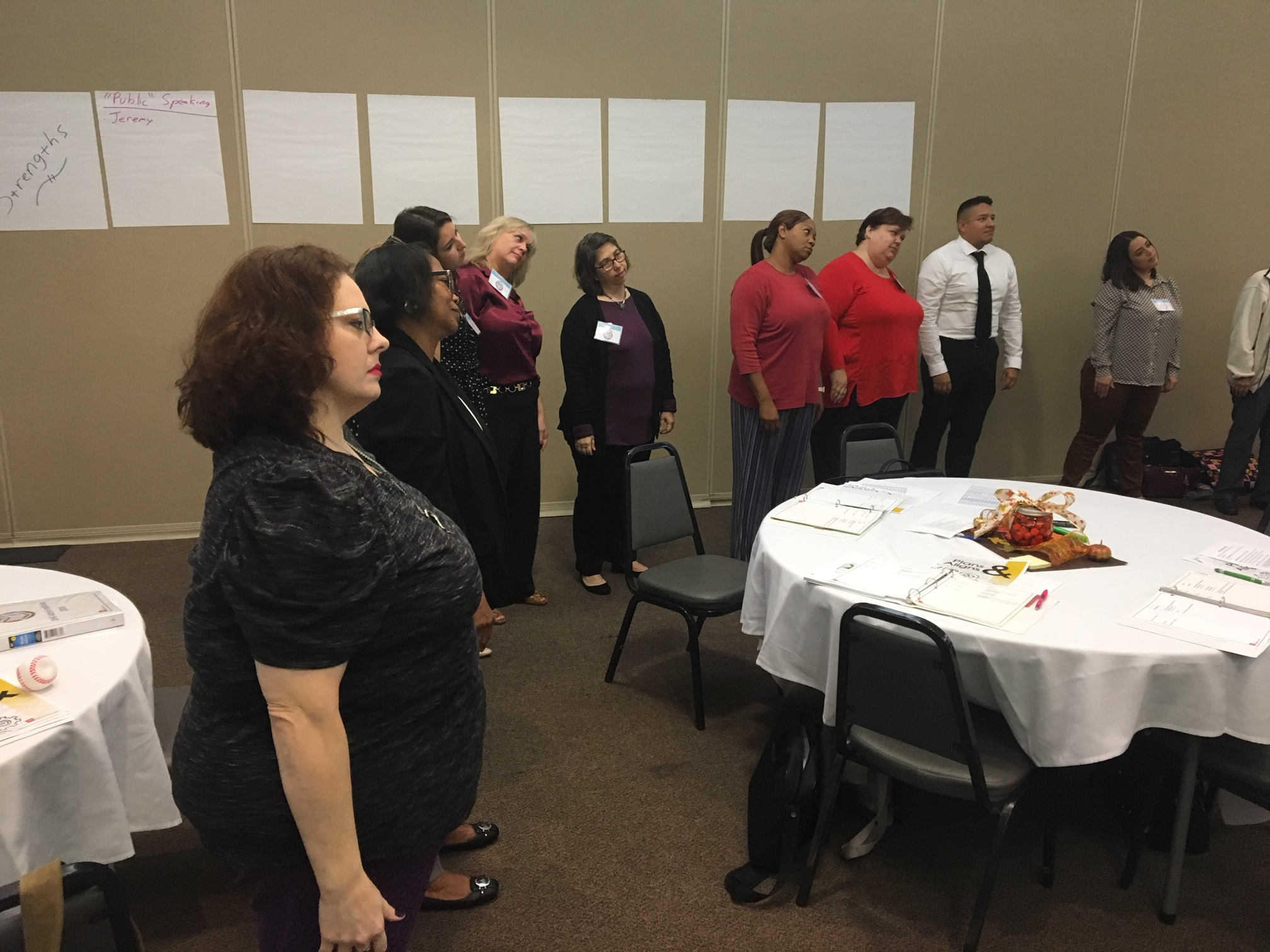 30 people participated in a stretch break at the DHS Admin. Institute in September.