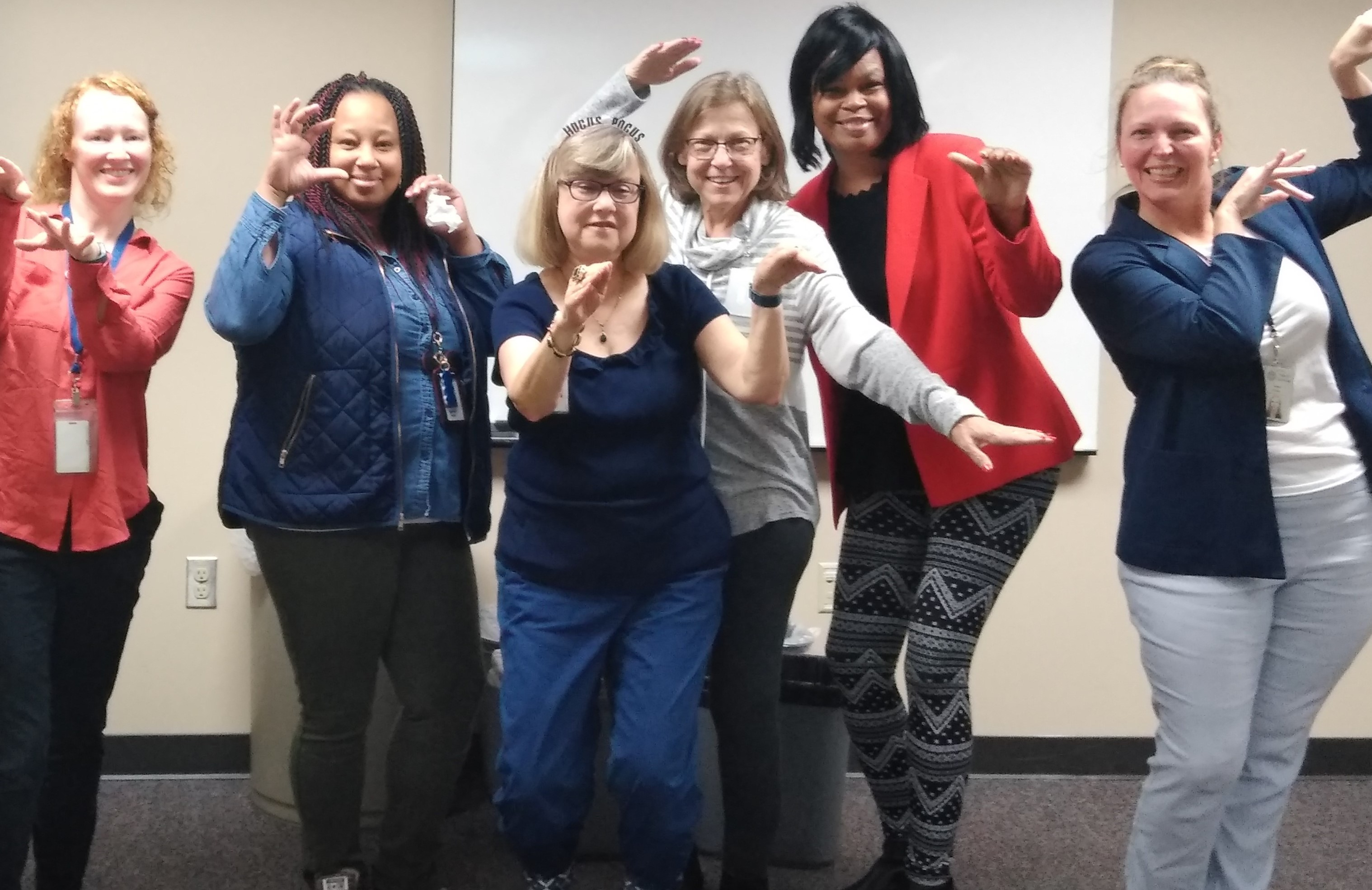 Employees at DHS took a Thriller dance break during a recent webinar.