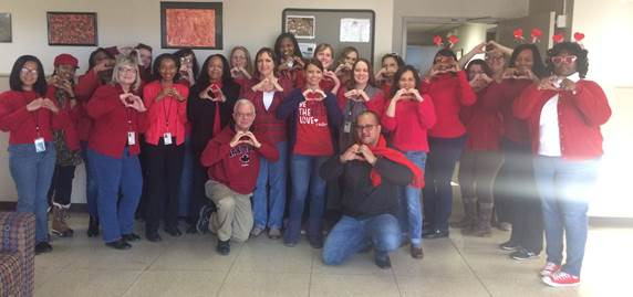 To raise awareness about the risk of heart disease, many employees participated in the American Heart Association's Go Red for Women by wearing red on Friday, February 2.
