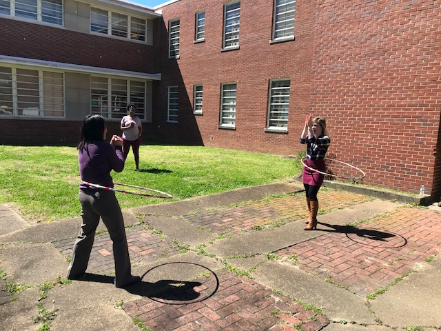The DIDD Middle TN Regional Office hosted a healthy potluck and recess. During recess the group played Simon Says and there was a jump rope contest and hula hoop contest.