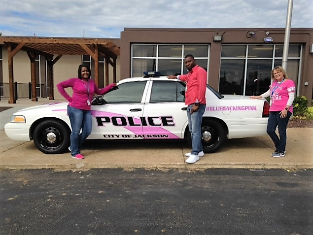 Employees from the Department of Intellectual & Developmental Disabilities West office wore pink for breast cancer awareness.
