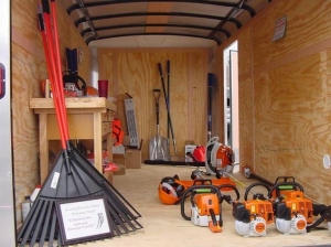 Cindy Barrett, Long Branch Lakes Hazard Mitigation Committee Chair. Equipment trailer and tools for Long Branch Lakes Firewise USA Community funded through a 2019 Hazard Mitigation Grant.
