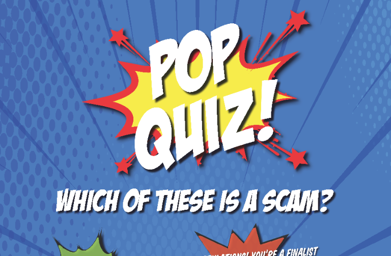 Student Scams Pop Quiz Poster